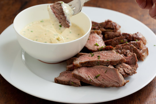 Grilled steak fondu